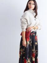 Czarna welurowa plisowana spódnica w kwiaty                                  zdj.                                  10