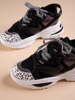 Czarne buty sportowe na platformie z podwójnymi sznurówkami                                  zdj.                                  4