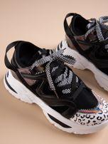 Czarne buty sportowe na platformie z podwójnymi sznurówkami                                  zdj.                                  5