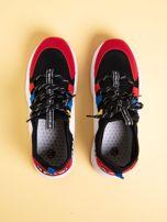 Czarne buty sportowe na wysokiej podeszwie z kolorowymi szlufkami                                  zdj.                                  2