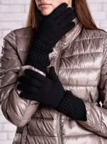 Czarne długie rękawiczki z fantazyjnym ściągaczem                                  zdj.                                  1