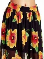 Czarne kwiatowe zwiewne spodnie culottes                                                                          zdj.                                                                         5