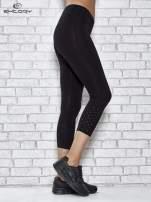 Czarne legginsy sportowe z aplikacją z dżetów na nogawkach                                  zdj.                                  2