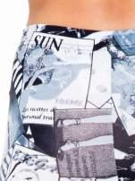 Czarne legginsy z nadrukiem magazines print                                  zdj.                                  7