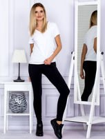 Czarne legginsy z szerokim pasem                                  zdj.                                  4