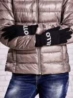 Czarne rękawiczki HELLO na pięć palców z wywijanym ściągaczem                                  zdj.                                  2