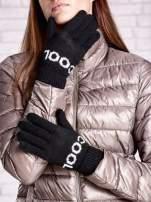Czarne rękawiczki z napisem COOL i z wywijanym ściągaczem                                  zdj.                                  1