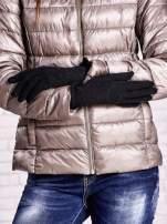 Czarne rękawiczki ze srebrną nicią z wywijanym mankietem                                  zdj.                                  2