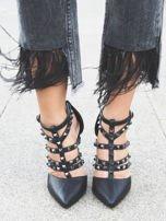 Czarne sandałki na szpilkach zapinane w kostce z ozdobnymi paseczkami i ćwiekami                                  zdj.                                  1