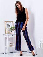 Czarne szerokie spodnie w paski                                  zdj.                                  4