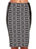 Czarno-biała wzorzysta spódnica ołówkowa ze skórzanymi modułami                                  zdj.                                  5