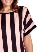 Czarno-różowa tunika w szerokie pionowe pasy                                  zdj.                                  6