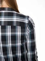 Czarno-turkusowa koszula w kratę z kieszeniami                                  zdj.                                  9