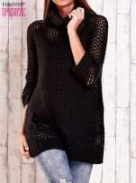 Czarny ażurowy sweter z golfem FUNK N SOUL                                                                          zdj.                                                                         1