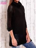 Czarny ażurowy sweter z golfem FUNK N SOUL                                  zdj.                                  3