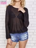 Czarny błyszczący sweter z haftem sowy z tyłu                                                                          zdj.                                                                         1