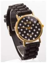Czarny damski zegarek z tarczą w białe grochy. Wygodny silikonowy pasek                                                                           zdj.                                                                         3