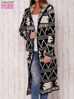 Czarny długi sweter motywy geometryczne                                  zdj.                                  2