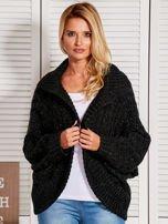 Czarny dziergany sweter typu kardigan przeplatany błyszczącą nicią                                                                          zdj.                                                                         5