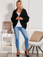 Czarny dziergany sweter typu kardigan przeplatany błyszczącą nicią                                  zdj.                                  6