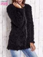Czarny futrzany sweter kurtka na suwak                                  zdj.                                  4