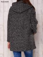 Czarny melanżowy płaszcz w literę A z kapturem                                                                          zdj.                                                                         4