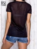 Czarny melanżowy t-shirt z okrągłym dekoltem                                                                          zdj.                                                                         5