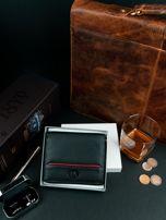 Czarny męski portfel ze skóry na suwak                                  zdj.                                  3