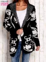 Czarny otwarty sweter z kapturem                                  zdj.                                  1