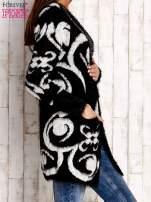 Czarny otwarty sweter z kapturem                                  zdj.                                  3