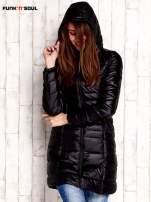 Czarny pikowany płaszcz z kapturem FUNK N SOUL                                  zdj.                                  3