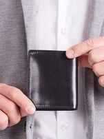 Czarny pionowy elegancki skórzany portfel                                   zdj.                                  6