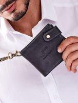 Czarny portfel męski skórzany z łańcuszkiem                                  zdj.                                  3
