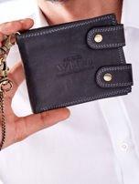 Czarny portfel męski skórzany z łańcuszkiem                                  zdj.                                  1