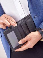 Czarny rozkładany portfel ze skóry                                  zdj.                                  5