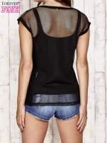 Czarny siatkowy t-shirt