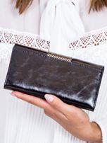 Czarny skórzany portfel z ozdobnym modułem                                  zdj.                                  3