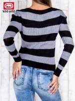 Czarny sweter w paski                                   zdj.                                  4