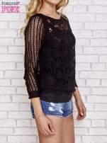 Czarny szydełkowy sweterek                                  zdj.                                  3