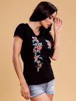 Czarny t-shirt damski w kwiaty                                  zdj.                                  6