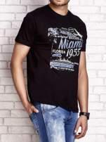 Czarny t-shirt męski z nadrukiem napisów MIAMI FLORIDA 1955                                  zdj.                                  3
