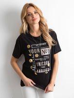 Czarny t-shirt z aplikacjami                                  zdj.                                  1