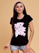 Czarny t-shirt z kolorowym kwiatowym nadrukiem                                  zdj.                                  1