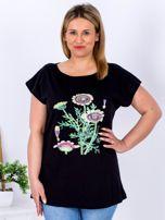 Czarny t-shirt z kwiatowym printem PLUS SIZE                                  zdj.                                  1