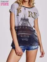 Czarny t-shirt z motywem Wieży Eiffla                                   zdj.                                  1