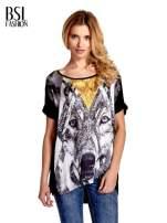 Czarny t-shirt z nadrukiem wilka