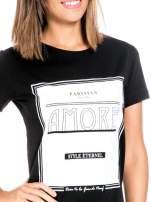 Czarny t-shirt z napisem AMORE                                  zdj.                                  5