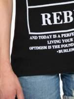 Czarny t-shirt z napisem EVERY WOMAN IS A REBEL                                  zdj.                                  9