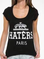 Czarny t-shirt z napisem HATERS PARIS                                  zdj.                                  6
