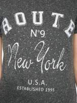 Czarny t-shirt z napisem ROUTE NEW YORK                                                                          zdj.                                                                         7